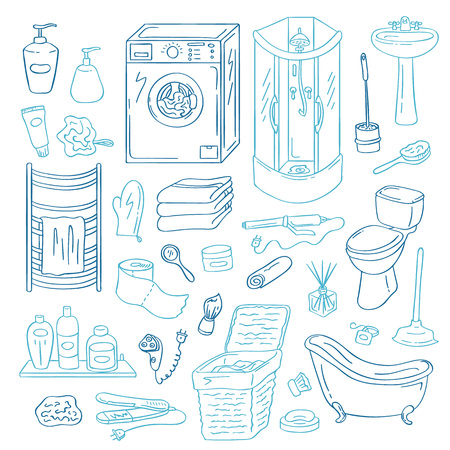 Vector hand drawn doodle bathroom elements set isolated on white background. Bathroom interior accessories, toilet, vintage bathtub, tubes, jars and gadgets collection. Çizim