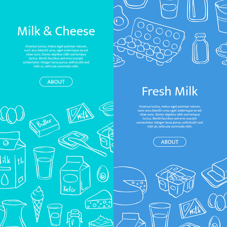 Vector vertical web banner templates with hand drawn dairy elements and place for text. Çizim