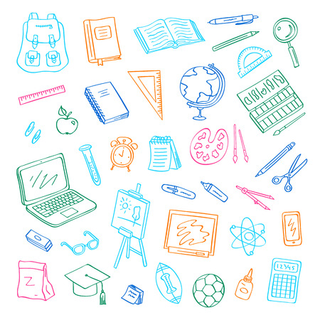 Vector back to school doodle elements set. Study and learning objects. Book, notebook, bag, ball, chalkboard icons. Easel or tablet, laptop, scissors and graduate cap symbols. Education illustration