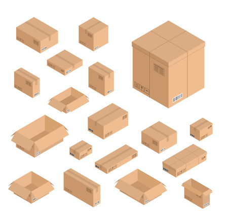 Vector isometric paper boxes set of different size and color. Open and closed post office boxes with tape, signs and bar codes. Logistics shipping delivery paper packages isolated illustration