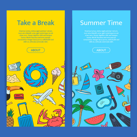 Hand drawn colored beach objects vertical web banners. Vector summer travel doodle elements illustration with place for text. Çizim