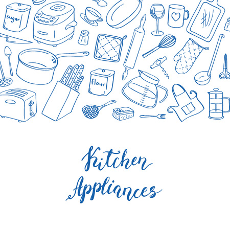 Vector kitchen utensils doodle icons background with place for text illustration. Isolated kitchen appliances objects on white background. Kitchenware and home accessories elements Çizim