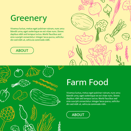 Vector hand drawn doodle vegetables icons web banner templates with place for text illustration. Healthy food products. Vegan elements. Çizim