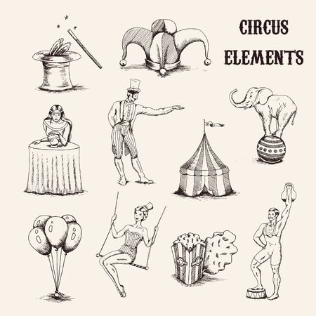 Vector hand drawn circus elements set. Acrobat, elephant, popcorn, baloons, cilinder hat and magic wand isolated on white background illustration Çizim