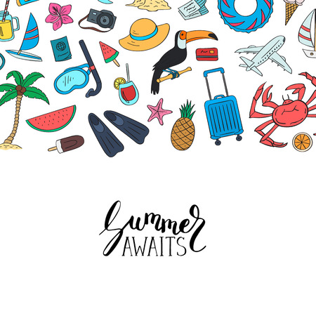 Hand drawn colored beach objects. Vector summer travel doodle elements background with lettering and place for text