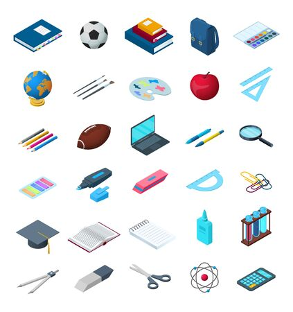 Vector back to school isometric elements set. Calculator, backpack, globe, ruler stationery objects illustration