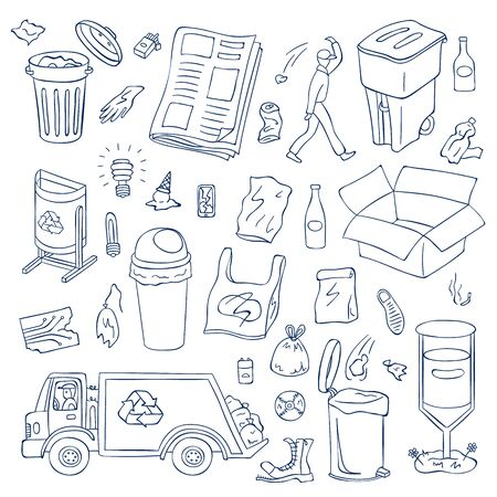 Vector garbage doodle elements set. Waste recycling objects. Trash can types, plastic, bottles, garbage truck, janitor, broken gadgets illustration