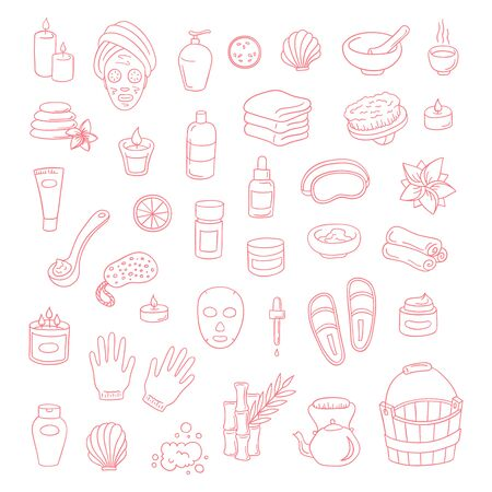 Vector doodle icons spa elements set. Hand drawn spa and massage salon objects collection. Candles, skincare, facial mask, tea kettle, aromalamp, wooden bucket and bamboo objects isolated illustration