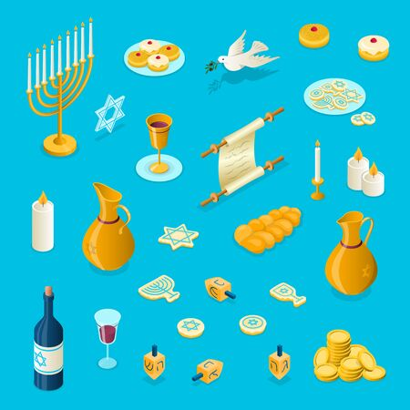 Vector Hanukkah isometric 3d elements set. Jewish holiday 3 dimensional objects illustration. Menorah, dove, dreidel, glass, jug, candles, doughnuts, golden coins, challah, star of David symbols. Illustration