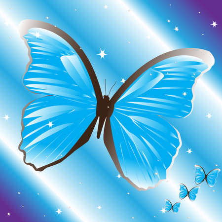 coloration: Blue butterfly Illustration