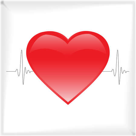Heartbeat in the background of the electrocardiogram, Vector illustration, eps10 Vector