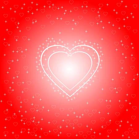 Cuore incandescente luminoso su uno sfondo rosso brillante, illustrazione vettoriale, eps10 Archivio Fotografico - 8626748