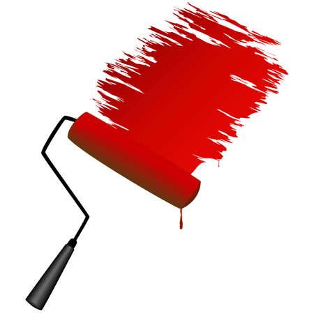 roller brush: Rodillo de pintura, ilustraci�n Vectores