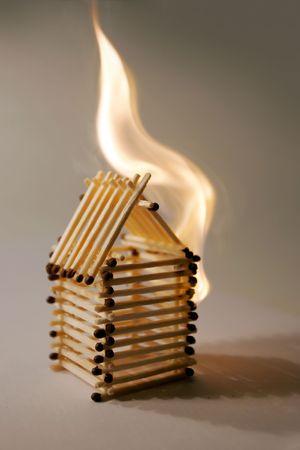 holey: Match small house Stock Photo