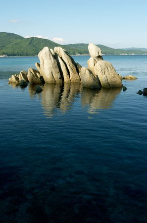 Stones at coast of the Japanese sea photo