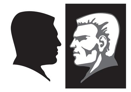 man face profile: Vector de arte