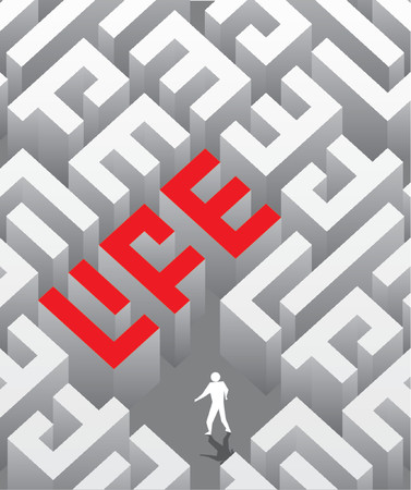 The social poster with the image of a labyrinth as a word life. Vector