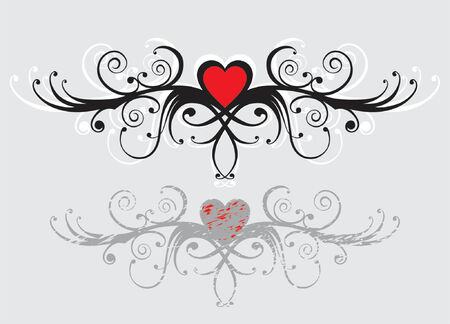 stylistic: Floral ornament with the twisted heart Illustration