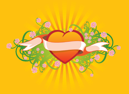 Floral ornament with the heart, flowers and ribbon Vector