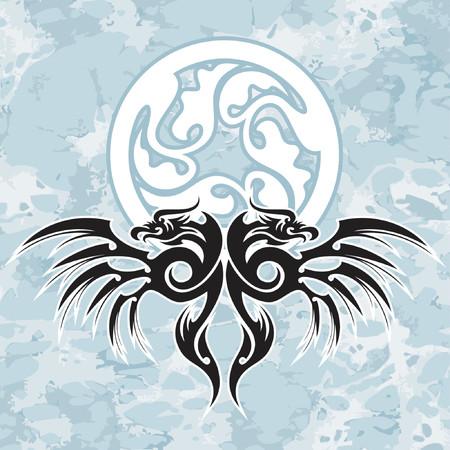 tatouage art: dirigez l�l�ment de conception, les dragons noirs et le cercle sur le fond grunge. Le puits sapprochera pour le Cd ou le t-shirt