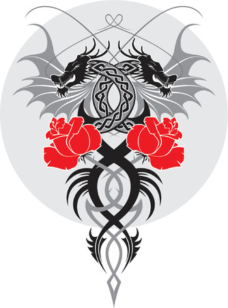 vector design element, black dragons and roses Vector