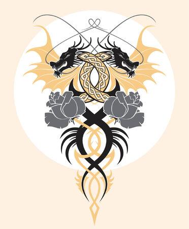 celtic art: vector design element, black dragons and roses Illustration
