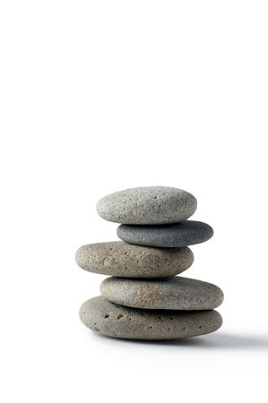 A set of balanced round smooth stones Stock Photo