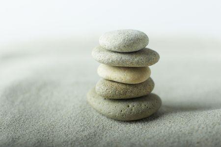 A set of balanced round smooth stones photo