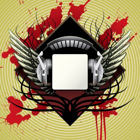 vector headphones with wings, for cd or t-shirt Vector