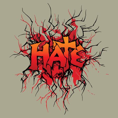 hate: Vector ornament In grunge style. The word  Illustration