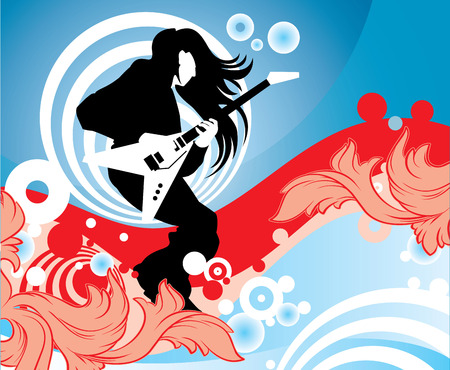 Vector image of the man with a guitar Vector