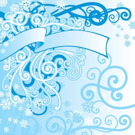 vector ornament In floral style with snowflakes Vector