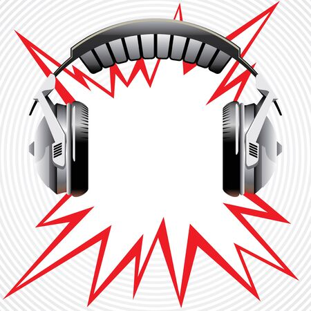 Vector headphones with abstract flash Illustration