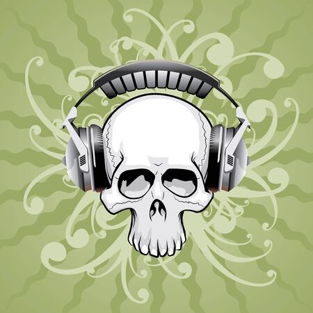 vector skull with headphones and floral elements Vector