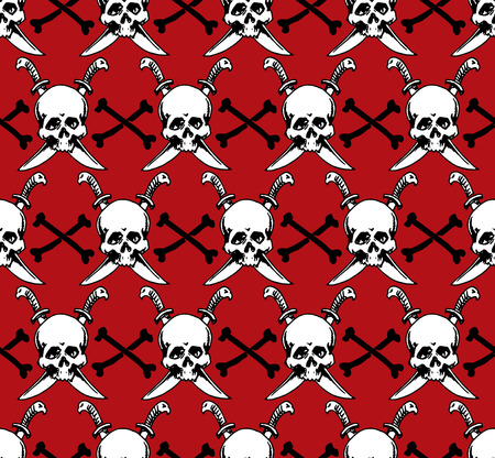sabre: Seamless background from a skull ornament, Fashionable modern wallpaper or textile Illustration