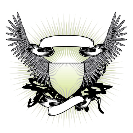 medallion: The stylized vector arms, wings are made of weapon patrons Illustration