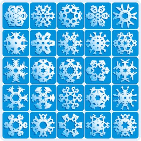 set is 25 super natural vector snowflakes Vector