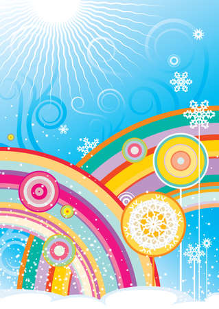 Vector background with rainbows and snowflakes Illustration