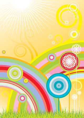 childish: Vector background with rainbows and flowers
