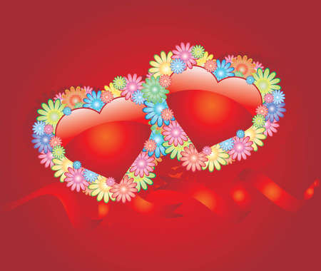 Vector background with hearts flowers Vector