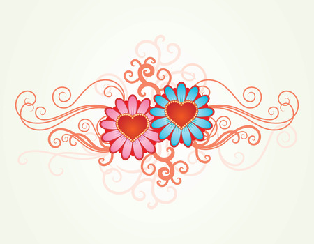 Vector background with hearts flowers Stock Vector - 2369102