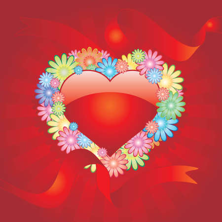 Vector background with heart flowers Stock Vector - 2369103