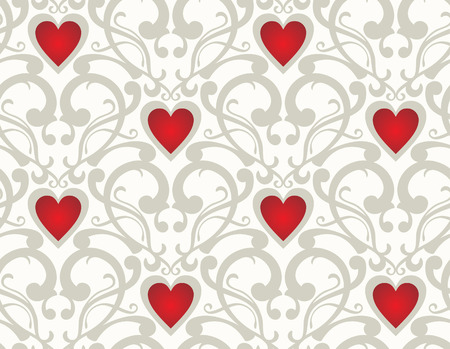 Seamless background from a flower ornament with hearts, Fashionable modern wallpaper or textile Illustration