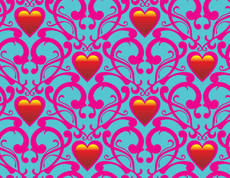 Seamless background from a flower ornament with hearts, Fashionable modern wallpaper or textile Stock Vector - 2406970