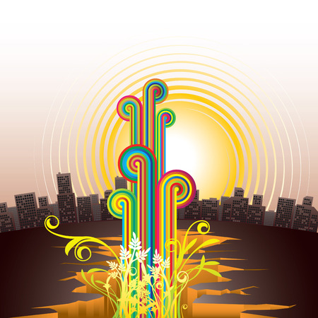 Vector image of abstract city with fashionable elements Vector