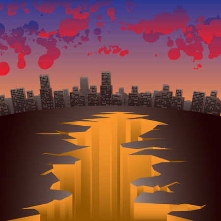 earthquake crack: Vector image of abstract city with crack and bloody clouds