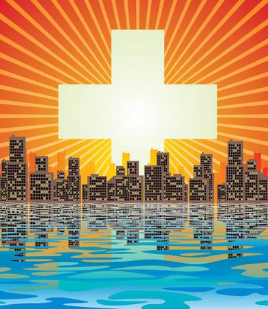 rising sun: Vector de imagen abstracta ciudad y el aumento de sol
