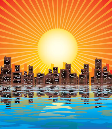 Vector image of abstract city and rising sun