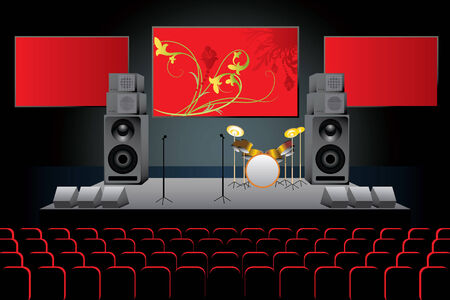 opening party: The vector image of a concert stage Illustration
