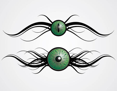 green eyes: vector ornament and green eyes Illustration